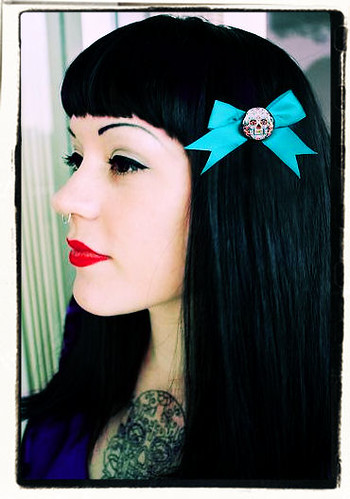 Laura Lynn Modeling Sugar Skull Hair Bow I Also Have