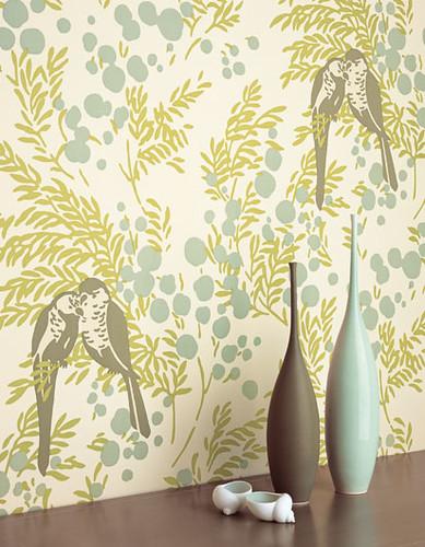 Modern wallpaper: Birds + leaves + berries: Blue-green bot