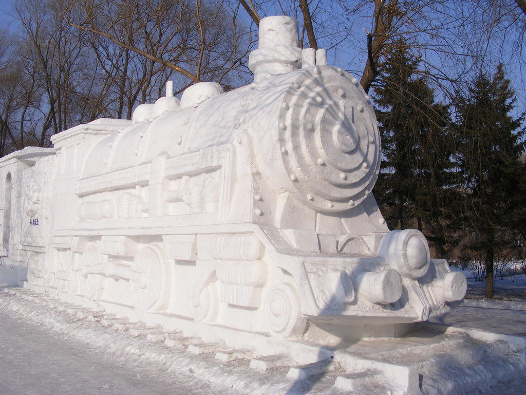 Snow steam train harbin international ice and sculpt
