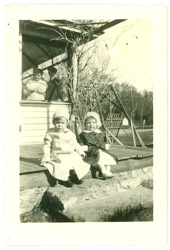 Two kids on steps
