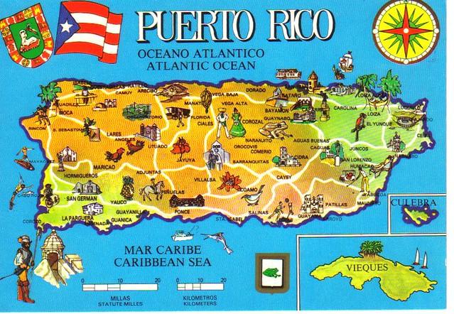 Puerto Rico map postcard | Erin | Flickr