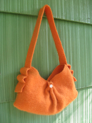 Recycled sweater purse (orange) | by sassycrafter