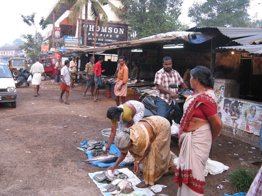 At A Fish Market In Changanacherry Fish On Display For