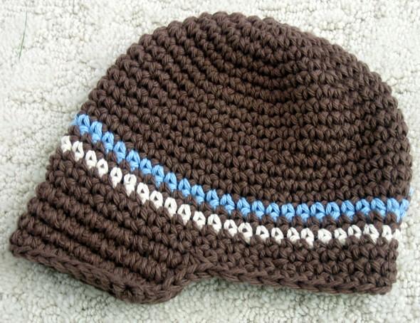 Crochet Pattern Central Baby Hats : Newsboy Baby Hat Pattern - Brown Blue Cream Newsboy Baby ...
