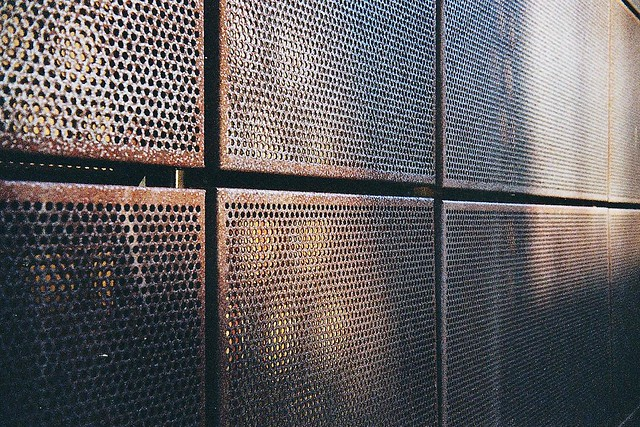 metal facade cor ten steel captured with a rollei b35 no. Black Bedroom Furniture Sets. Home Design Ideas