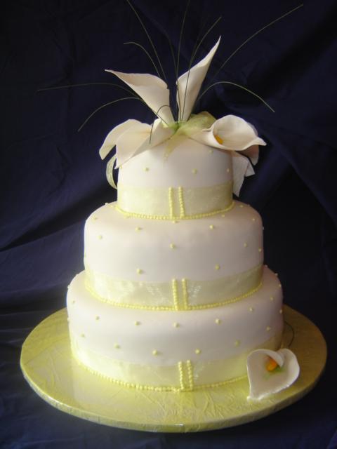 Calla Lily Wedding Cake Lemon Yellow Theme Chocolate