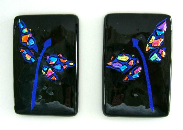Etched Fused Dichroic Glass Dragonfly Tiles My New