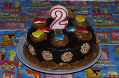 Levi's 2nd birthday chocolate mud cake with racing cars and freckles | by Vanessa Pike-Russell