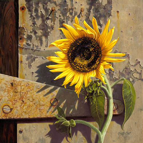 """""""Sunflower at the Old Factory""""- oil painting by Camille En ..."""