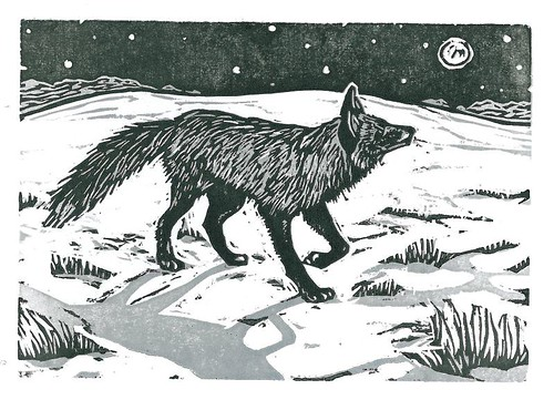 Silver Fox- Woodcut | by jenniferzalewski