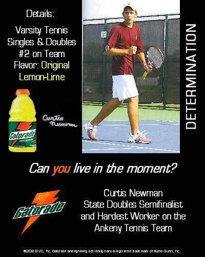 Curtis Newman Gatorade Magazine Ad | Tennis Gatorade ...
