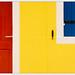 Yellow wall between door and window
