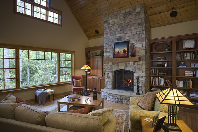 stone-fireplace-vaulted-ceiling | ACM Design Architects | Flickr