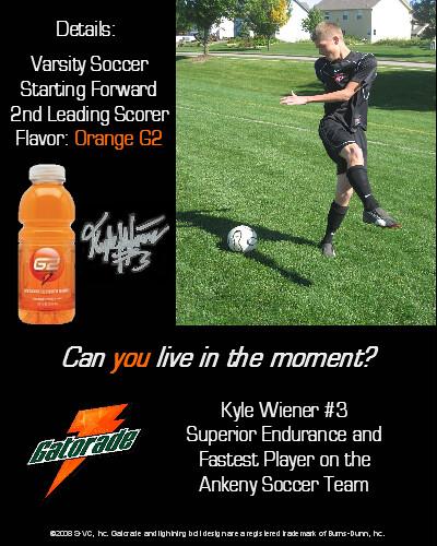 Kyle Wiener Gatorade Magazine Ad | Soccer Gatorade ...