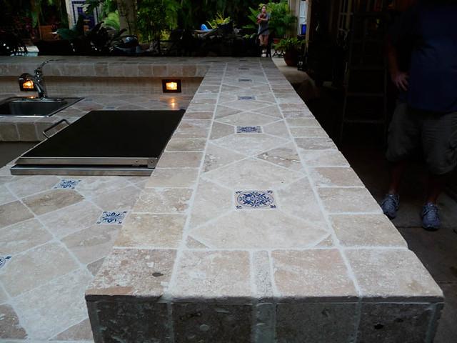 Custom Exterior Tile : Custom tile travertine outdoor kitchen counter tops flickr