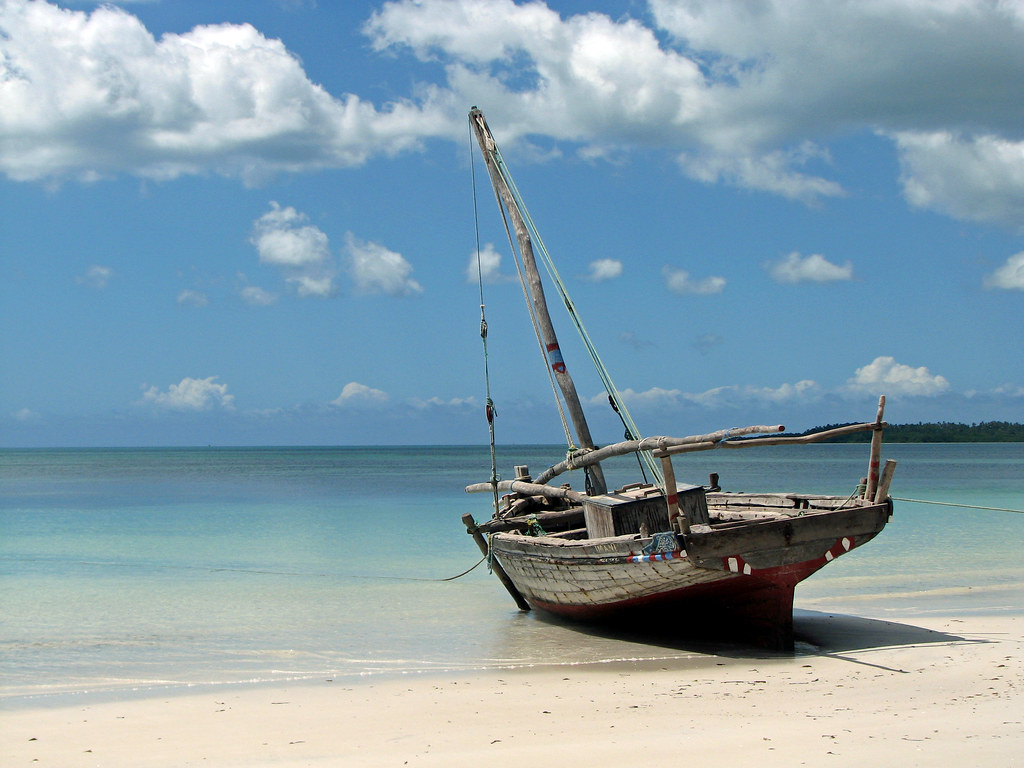 Wooden Sailboat On Vumawimbi Beach In Pemba Bobcatnorth
