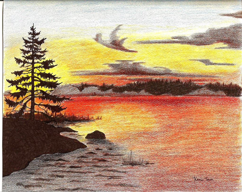 Pencil drawings colored pencil sunset drawings for Easy colour sketch pen drawings