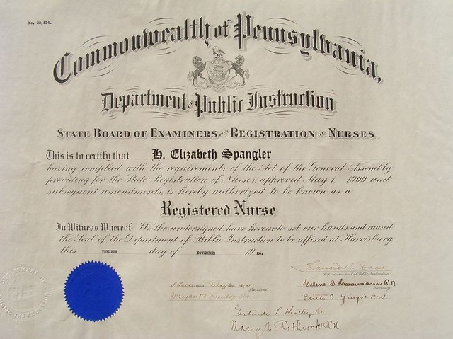 Registered Nurse Certificate From The State Board Of Exa