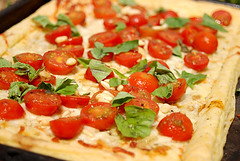 Tomato, mozzarella, pinenut and basil tart | by Veggie Delish