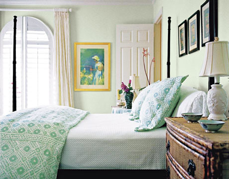 Lovely pale green + white bedroom: 'Parsley Tint' by Porte ... - photo#7
