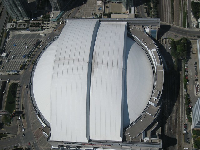 Toronto Rogers Centre Roof Closed Seen From Top Of The