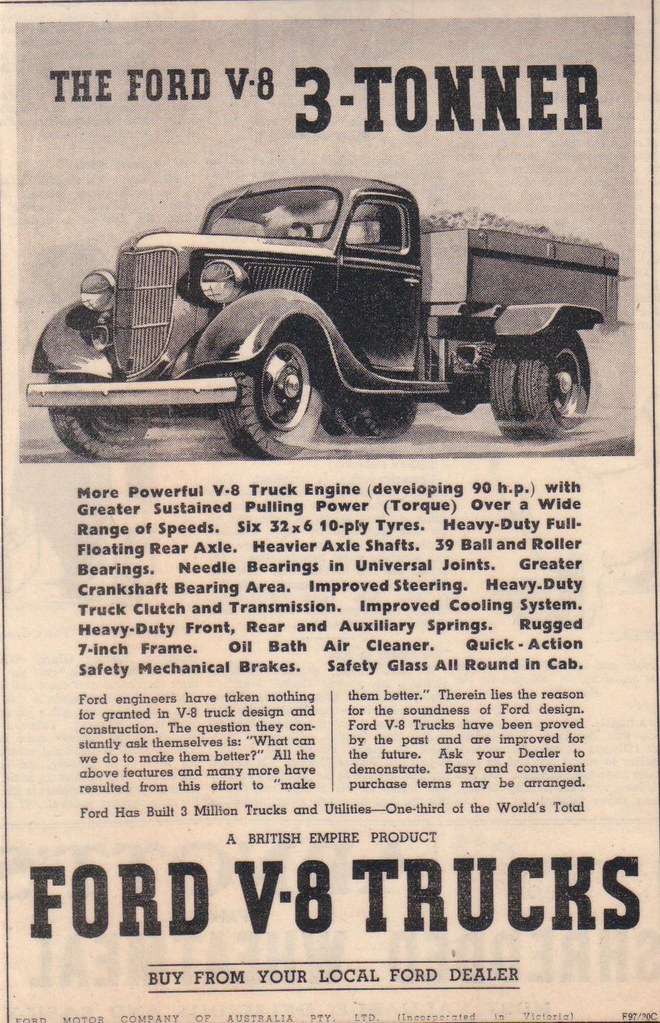 1937 Ford 3 Ton V8 Truck Ad | One of the First Heavy Duty V8… | Flickr