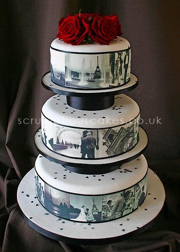 Photo Cake Images Edible : Wedding Cake (461) - Edible Paris Pictures & Fresh Roses ...