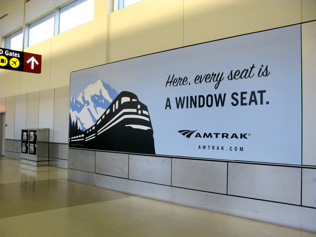 Amtrak Billboard Inside Sea Tac Airport Also No