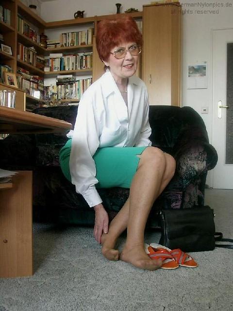 Granny in nylon