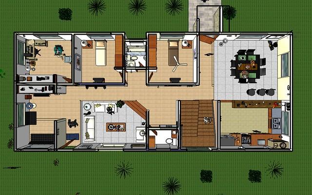 Planta 1er piso casa campestre calarca arquitectura 3d for Pisos para casas campestres