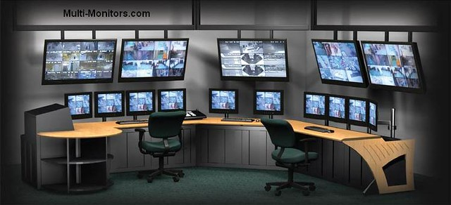 Giant Multiple Monitors Workstation Command Center For Sec