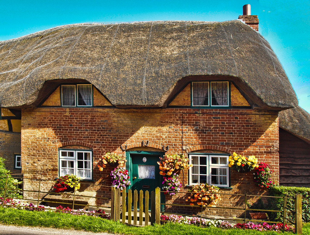 Thatched Cottage In The Village Of Nether Wallop In Hampsh