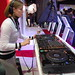 Diane Cheadle spinning at the LG booth