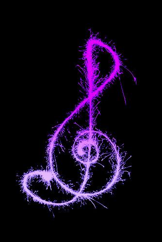 Sparkley Treble Clef Purple Light Painting Experiment