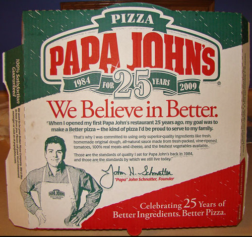 Papa John's 25 Years | Papa John's pizza box 1984-2009 ... Papa Johns Pizza Box Opened