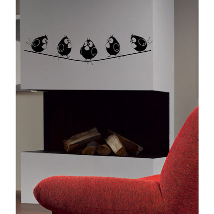 Five birds on wire wall decal for Stickers para pared decorativos