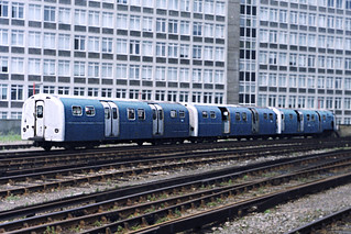 Stored Waterloo and City line carriages S79 S71 & S55 at Waterloo