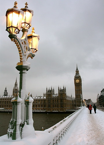 A wintry Big Ben in the snow | by www.AlastairHumphreys.com