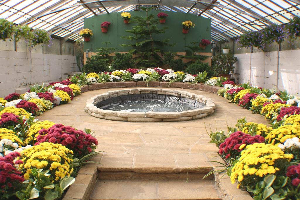 Flowers Around Indoor Pool Rockefeller Park Greenhouse