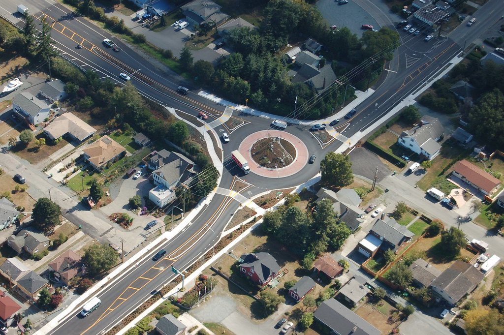 Aerial View Of Roundabout In Anacortes This Is An Aerial
