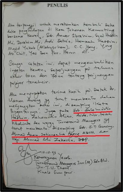 Tulisan tangan Kamarazaman Yacob   Kata Pengantar tulisan ...