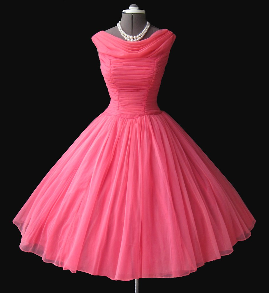 1950s pink chiffon prom dress myvintagestudio flickr