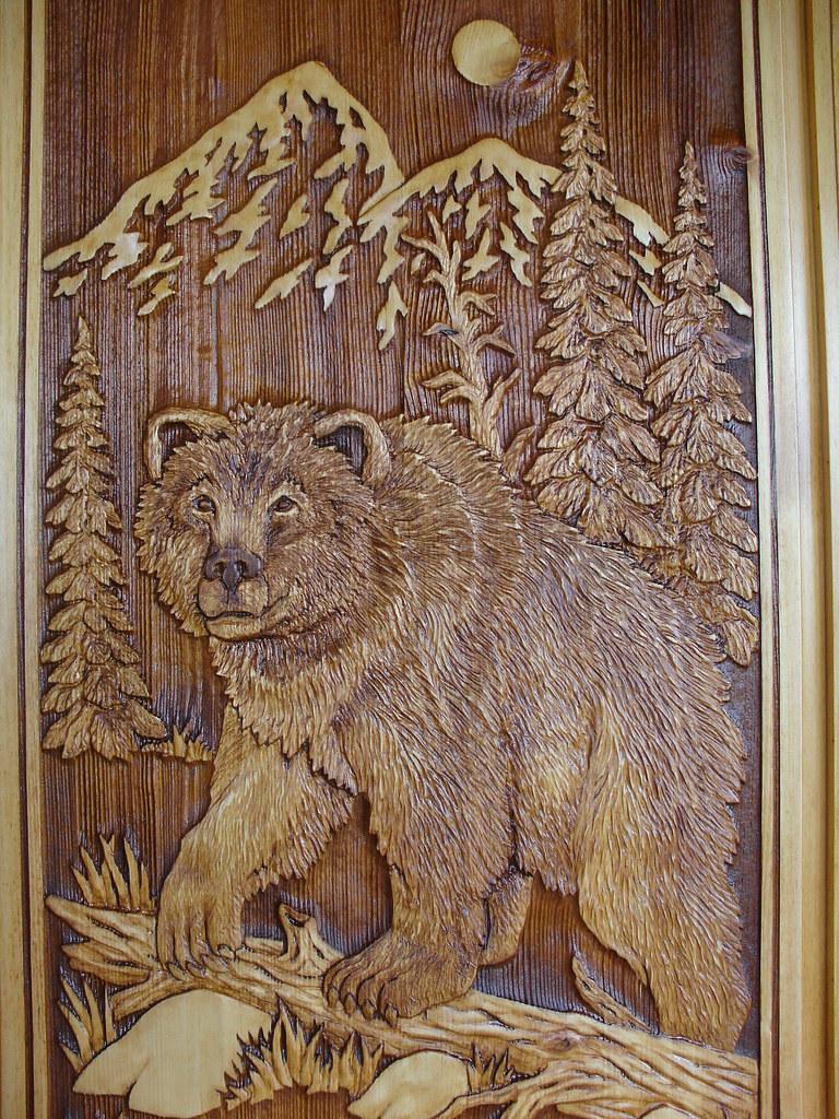 Carved bear door brent manley flickr