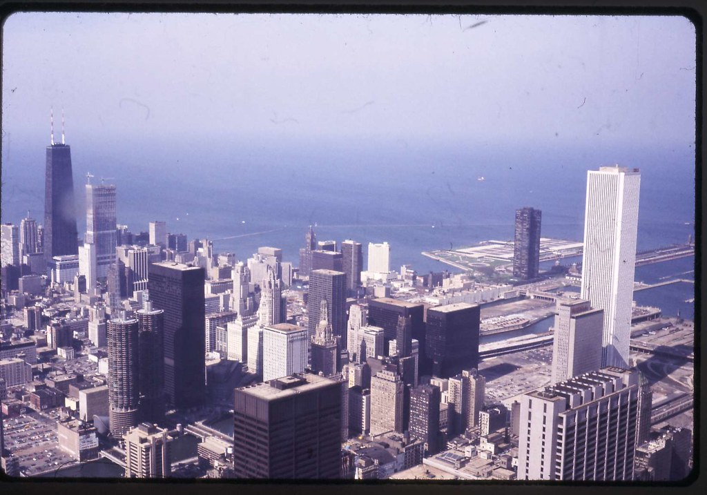1974 Loop - near north from Sears Tower observation deck ...