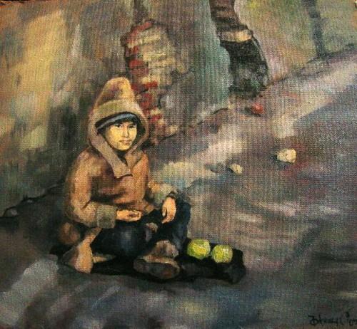 Homeless Boy Gets Bedroom For Christmas: 2005 Oil,canvas 60х80