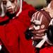 Kikuyu warriors with painted faces - Kenya