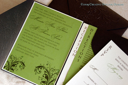 White And Green Wedding Invitations: Green & Brown Wedding Invitation