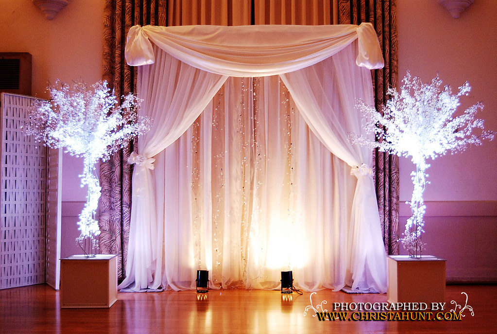 crystal decor for weddings altar backdrop trees with white uplights fabric 3206