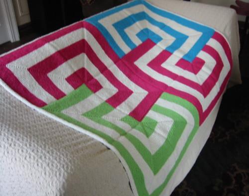 Mitered Square Blanket, garter stitch