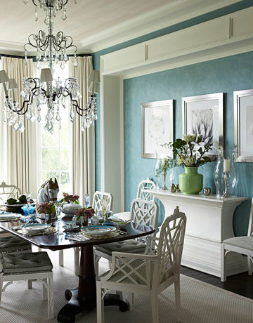Blue dining room + green and white accents | by SarahKaron